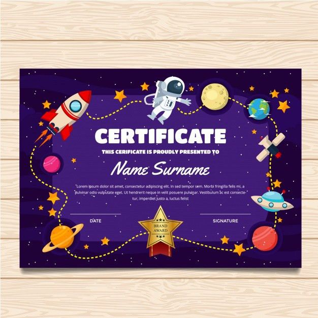 Certificate template with space design Vector | Premium Download