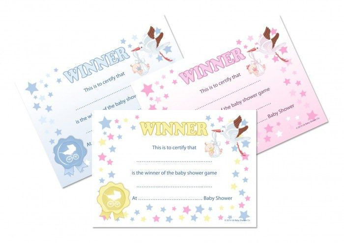 WINNER CERTIFICATES - Baby Shower Party Game Prize, 10/20 pack ...