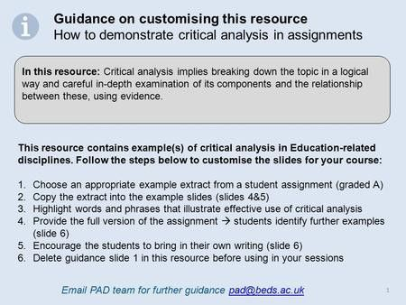 1 This resource contains example(s) of critical evaluation in ...