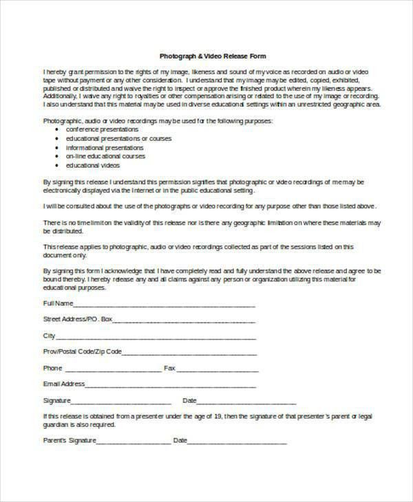 Video Release Forms. Simple Video Release Form | Templatezet Video ...