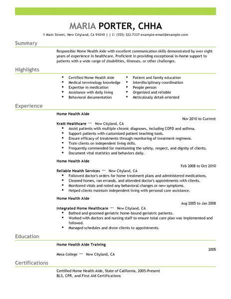 Best Home Health Aide Resume Example | LiveCareer