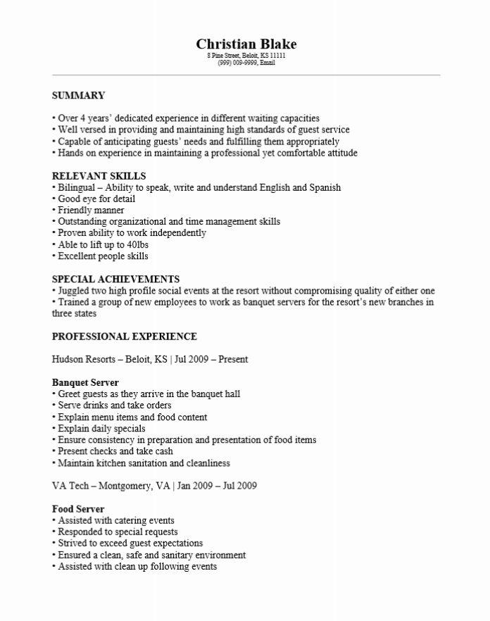banquet resume sample banquet server job description example word