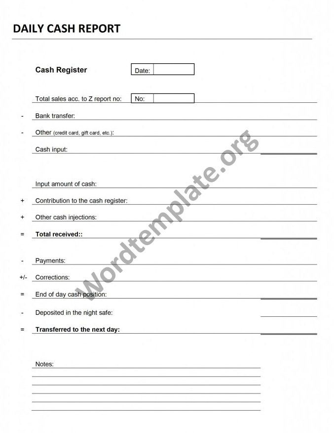 Daily Cash Transaction Report Template | Free Microsoft Word Templates
