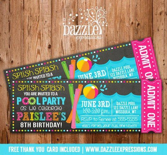 Printable Pool Party Chalkboard Ticket Birthday Invitation - Beach ...