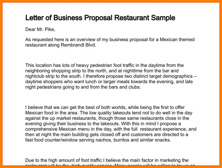 9+ business proposal letter for restaurant | Proposal Template 2017