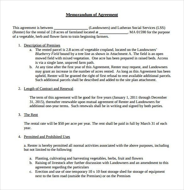 Sample Memorandum of Lease Agreement - 9+ Free Documents in PDF, Word