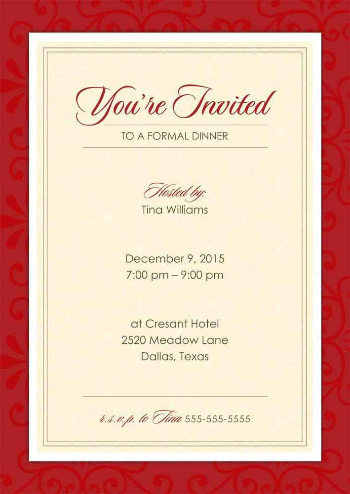 sample invitation letter for dinner party | Docoments Ojazlink