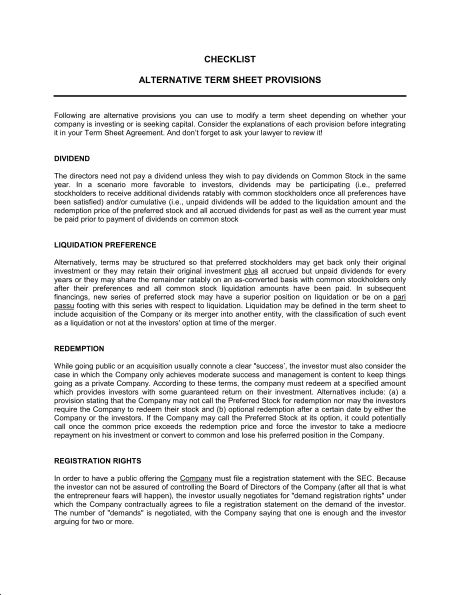 Checklist Alternate Term Sheet Provisions - Template & Sample Form ...