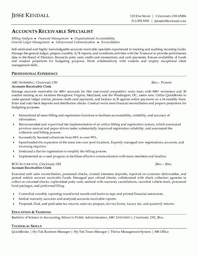accounts receivable clerk resume example | sample resumes ...