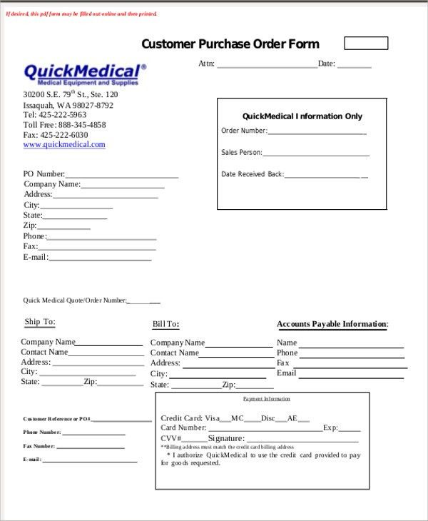 Sample Medical Order Form - 9+ Examples in Word, PDF