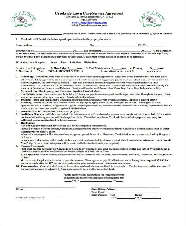 6+ Lawn Service Contract Templates   Free Sample, Example Format .