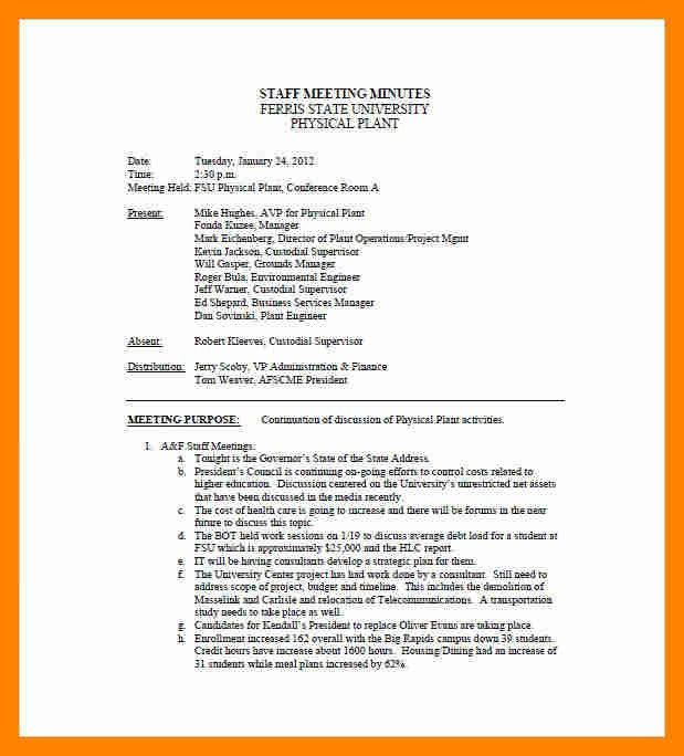 3+ minutes meeting sample | resume sections