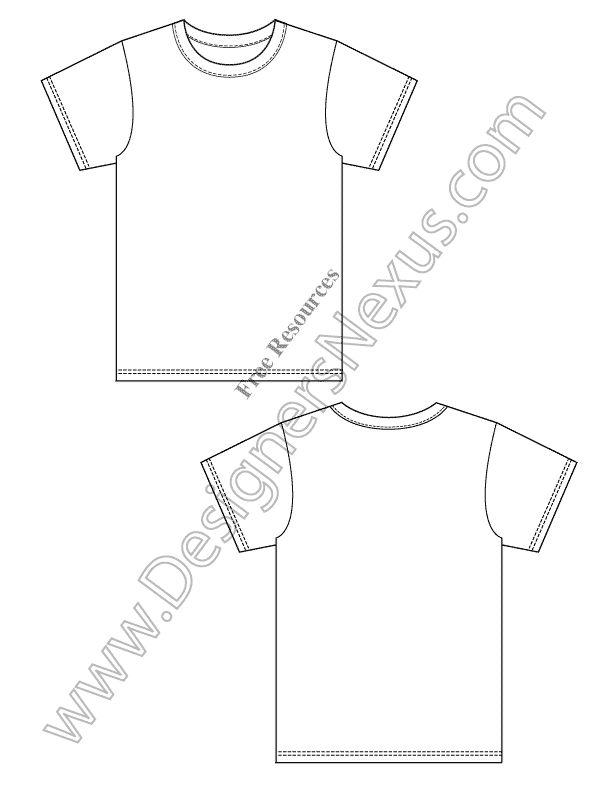 V2 Free Blank T-Shirt Design Template Vector Flat Sketch ...