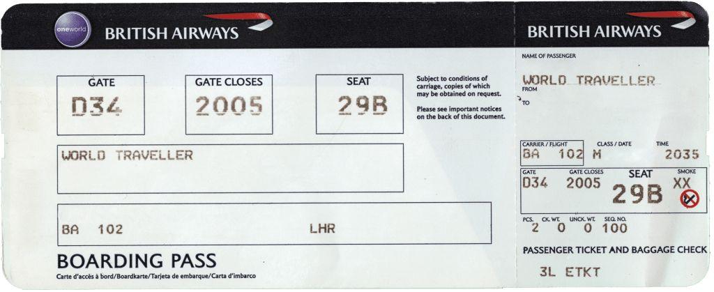 Inspiring British Airways Boarding Pass Ticket Template Format ...