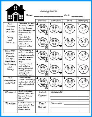 House Book Report Project: templates, worksheets, grading rubric ...