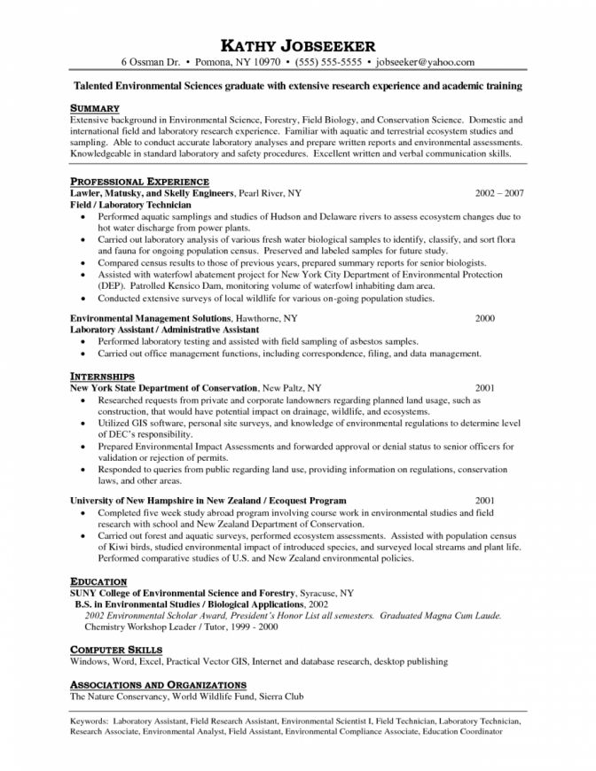 environmental science resumes environmental scientist resume