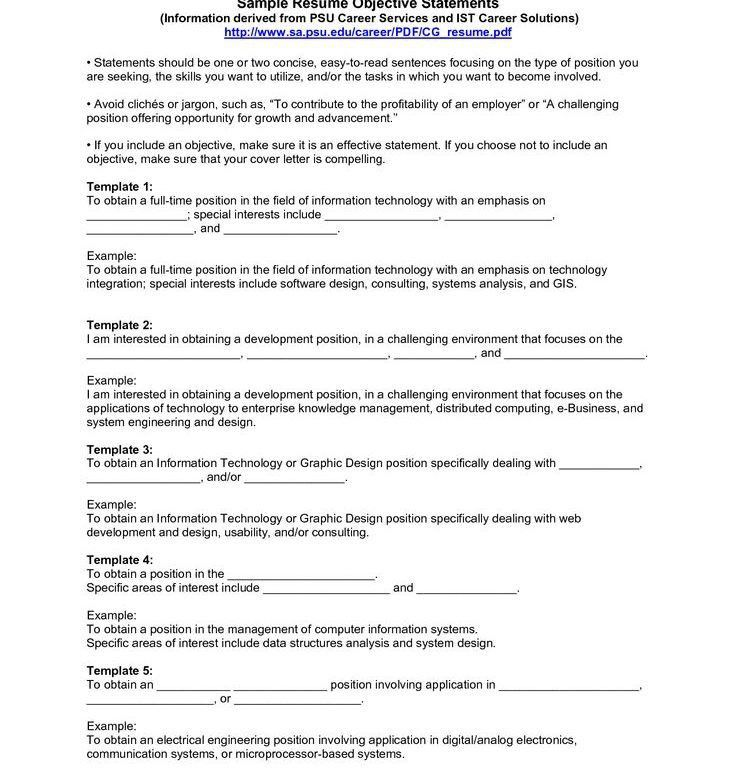 Download Good Objective Statements For Resume ...