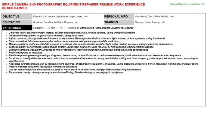 Camera And Photographic Equipment Repairer Resume Sample