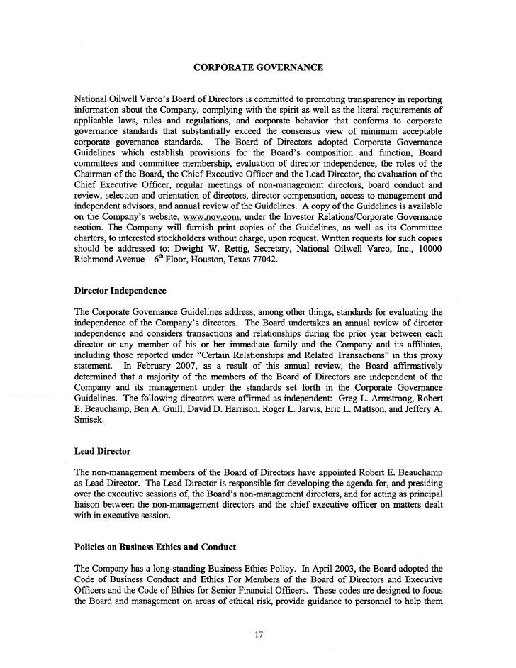 national oilwell varco 2007 Proxy Statement/2006 Annual Report on Fo…