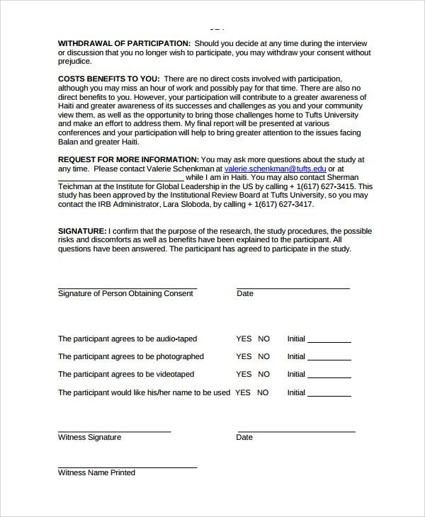 Sample Research Consent Form - 8+ Free Documents Download in PDF, Word