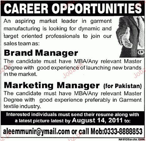 Brand Manager and Marketing Manager Job Opportunity 2017 Jobs ...