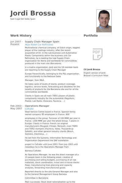 Supply Chain Manager Resume samples - VisualCV resume samples database
