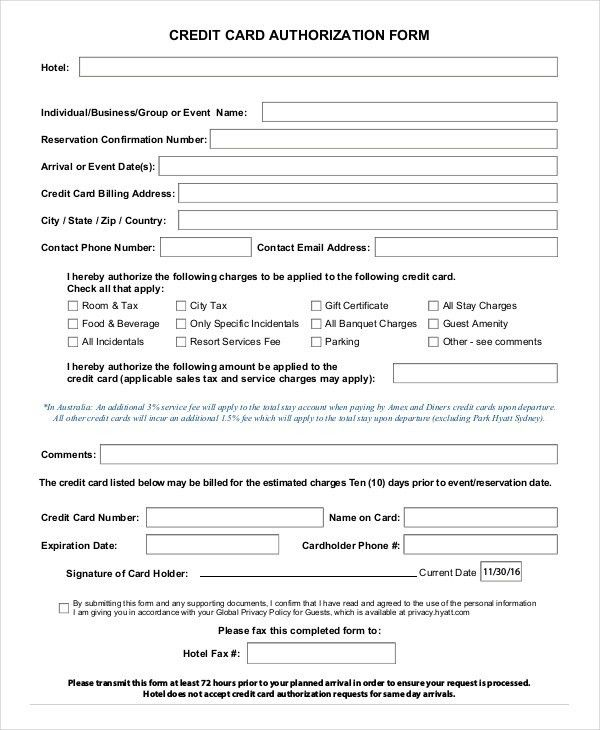 Credit Card Authorization Form Template - 10+ Free Sample, Example ...