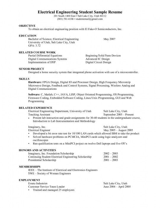 The Awesome Resume Formats For Engineering Students | Resume ...