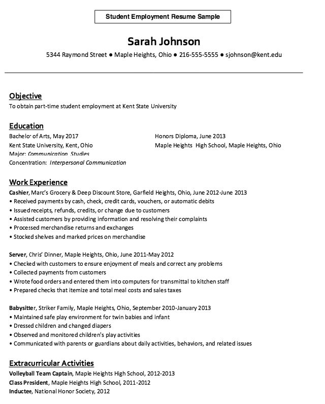 Student Employment Resume Example - http://resumesdesign.com ...