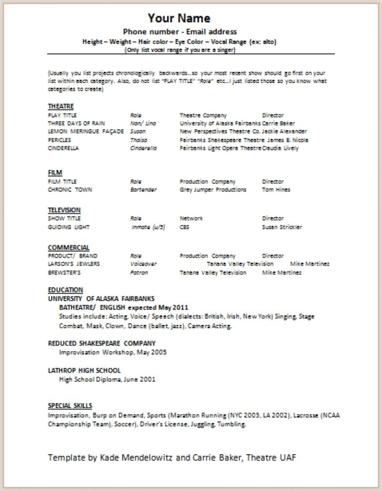 Actor Invoice Template. 10 acting resume templates free samples ...
