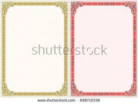 Empty Diploma Template Vintage Elements Colorful Stock Vector ...