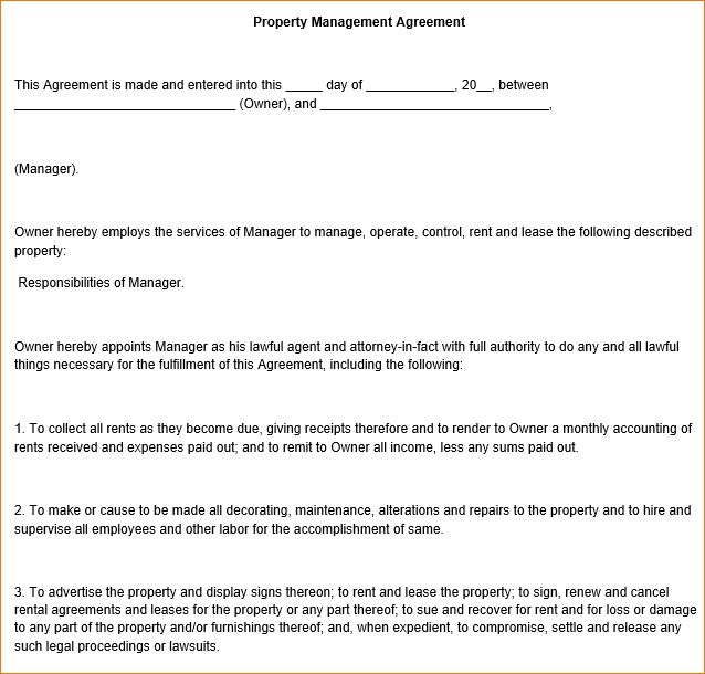 manager contract template