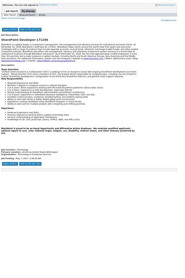 SharePoint Developer job at Blackrock in Wilmington, NC | Tapwage ...