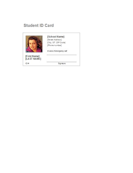 Student identification card - Office Templates