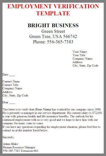 Employment Verification | business letter examples