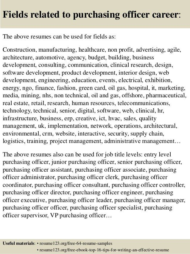 Top 8 purchasing officer resume samples