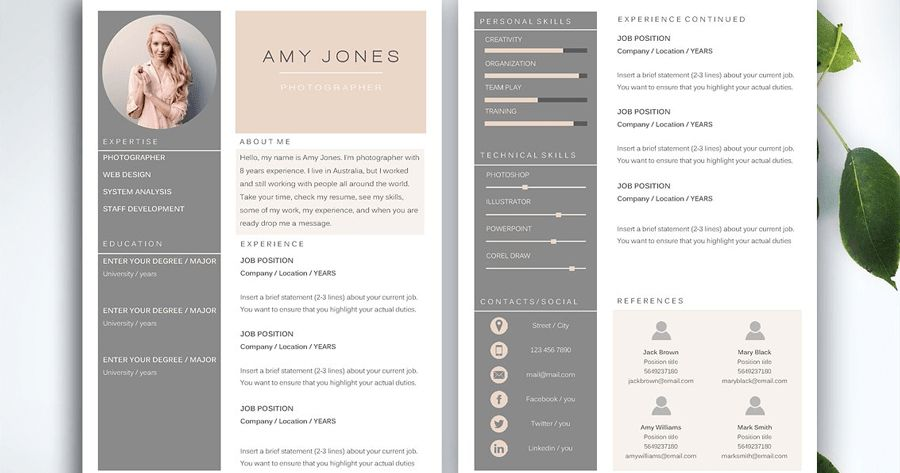 30 Best Modern Design Resume Templates - SimpleFreeThemes