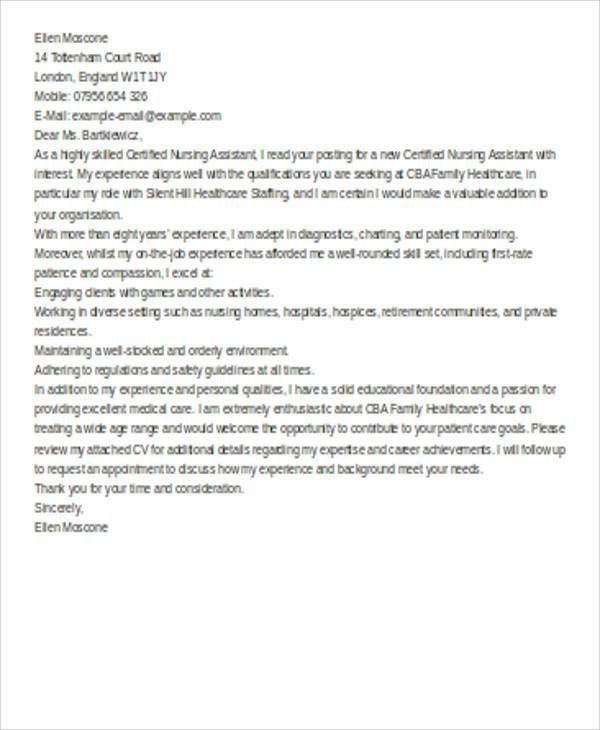 6+ Nursing Cover Letter - Examples in Word, PDF