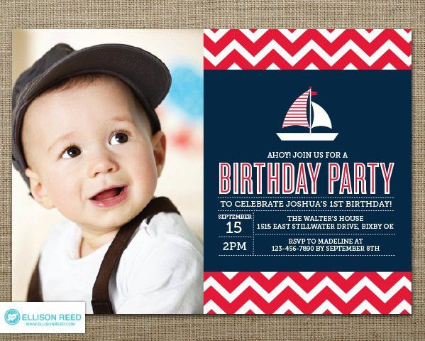 Nautical Birthday Invitation Nautical Printable Sail Boat
