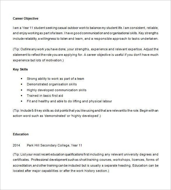 Amazing Examples Of Resumes For High School Students 25 On Online ...