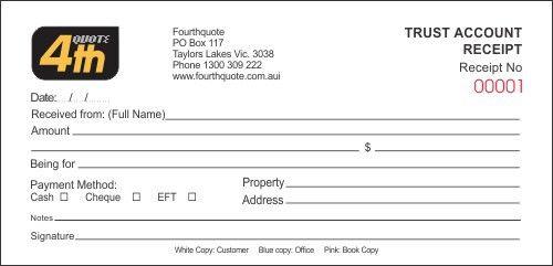 Fourth Quote - Invoice Books, Quote Books, Receipt Books