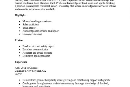 awesome banquet server resume 4 server duties for resume resume ...