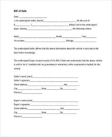 Blank Bill Of Sale Form. Free Download General Bill Of Sale Form ...