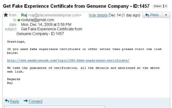 Fraud Alert : Get Fake Experience Certificate ...