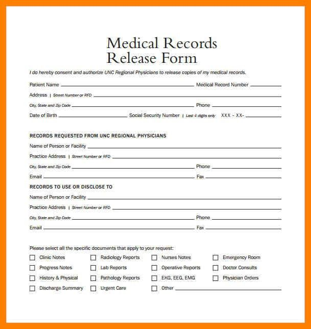 6+ blank medical records release form | aplication format