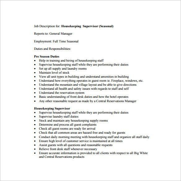 Supervisor Job Description Template - 10+ Free Word, Excel, PDF ...