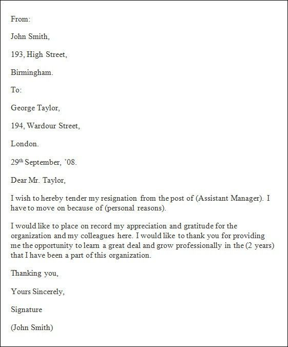 Resignation Letter Template, Free Resignation Letter Template