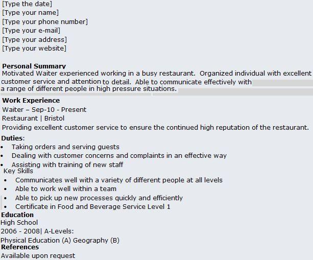 Sample Resume Hotel Waiter - Templates