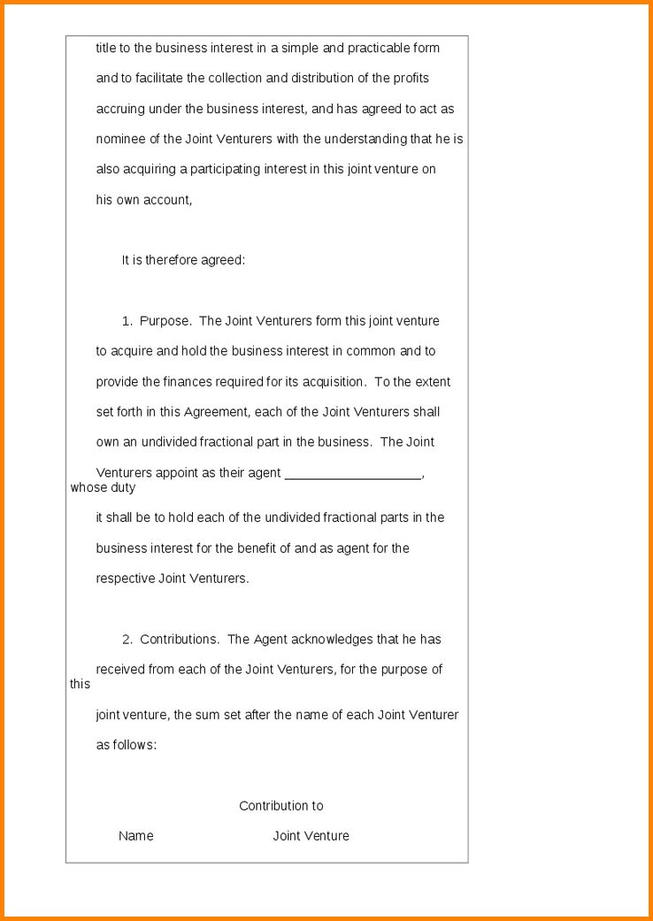 7+ joint venture agreement | memo templates