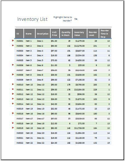 Equipment Inventory List with Reorder as Highlighted | Word ...